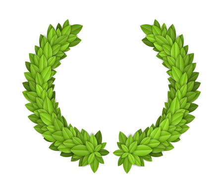 Laurel wreath with green leaves. EPS10 vector. Stock Vector - 23228599