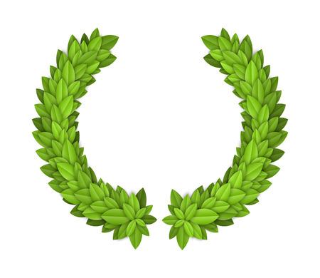 elite sport: Laurel wreath with green leaves. EPS10 vector. Illustration