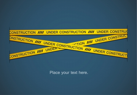 Yellow tapes with under construction text on blue background. EPS10 vector. Illustration