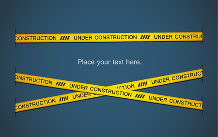 Yellow tapes with under construction text on blue background. EPS10 vector. Vector