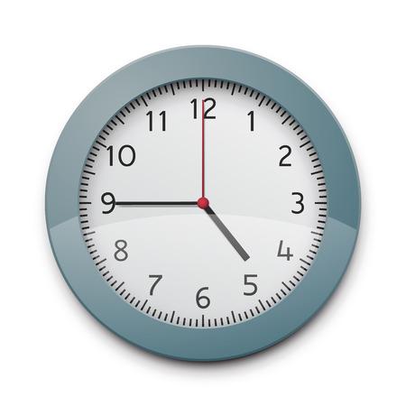 wall clock: Realistic round wall clock. EPS10 vector image. Illustration