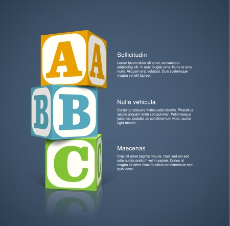 Three alphabet cubes with letters. EPS10 vector background. Vector
