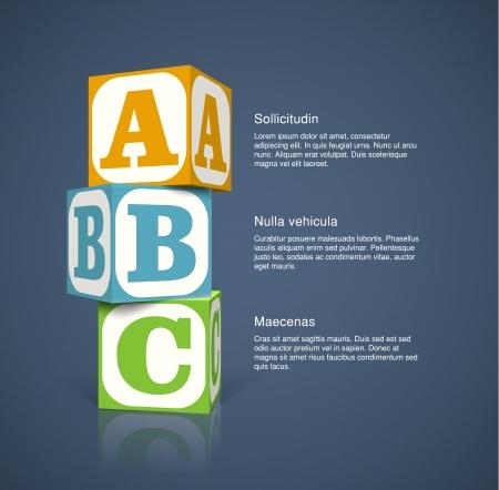 Tres cubos con las letras del alfabeto. EPS10 vector de fondo. Ilustración de vector