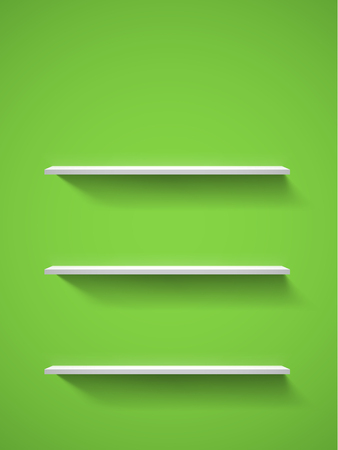 Row of realistic white empty bookshelves on a green wall. EPS10 vector background. Vector