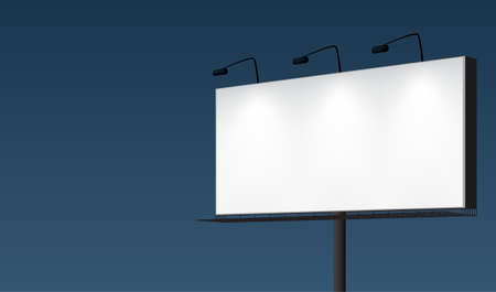 billboard: Dark night sky with a white brightly illuminated blank billboard. EPS10 realistic vector background. Illustration