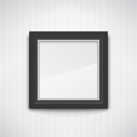 Realistic empty black frame on the white wall. EPS10 vector. Illustration