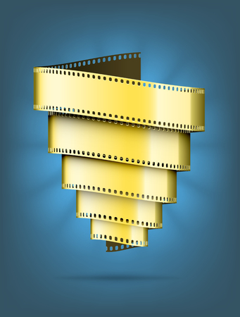 movie background: Abstract movie background. A tornado made of gold film. EPS10 vector.