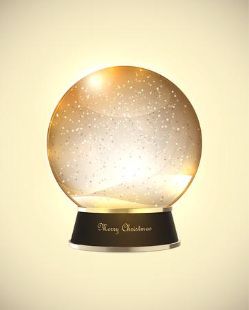 Realistic retro beige Christmas snow globe. EPS10 vector.