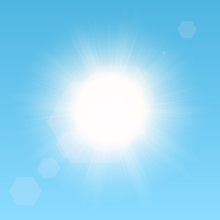 Realistic vector sun in the sky. EPS10 image. Vector