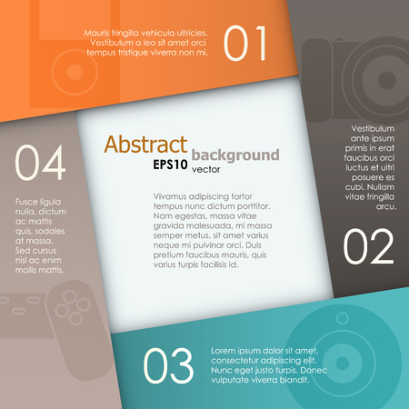 Four paper sheets with numbered placeholders. EPS10 vector background. Vector