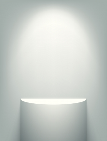 Illuminated white exhibition shelf. EPS10 vector image.