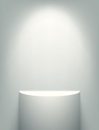 Verlichte wit tentoonstelling plank. EPS10 vector afbeelding. Stock Illustratie