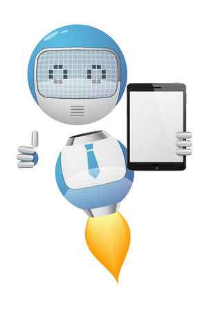 Friendly robot with thumb up showing a tablet pc. EPS10 vector. Stock Vector - 23261989