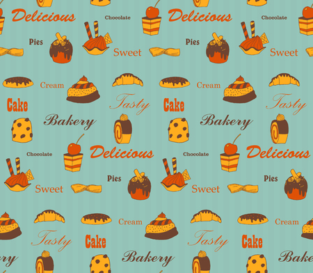 Vintage pies seamless background, EPS10 vector image. Vector