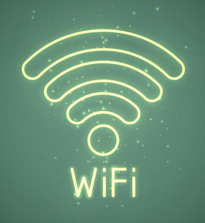 Neon retro blue wifi sign. EPS10 vector. Stock Vector - 23262076