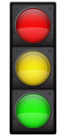Realistic traffic lights, Isolated on white, EPS10 vector Vector