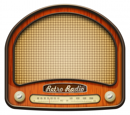 fm radio: Realistic retro radio, isolated on white. EPS10 vector. Illustration