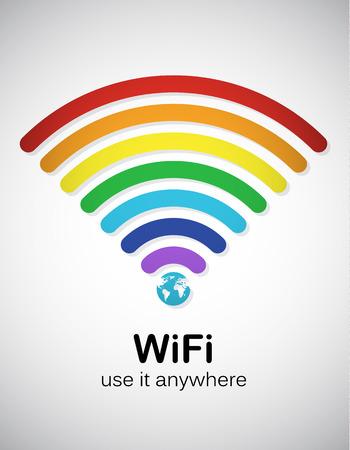 レインボー スタイル wifi 記号。EPS10 ベクトル画像。
