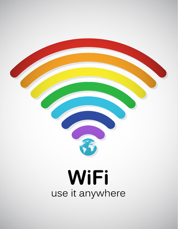 wifi sign: Rainbow style wifi sign. EPS10 vector image.