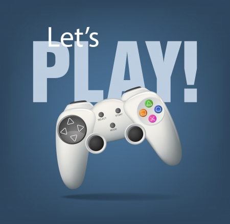 Realistic white gamepad on blue. EPS10 vector. Illustration