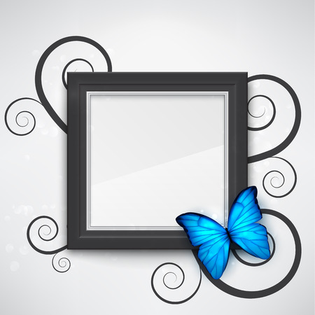 Dark empty frame on the wall with a bright blue butterfly on it. EPS10 vector background. Vector