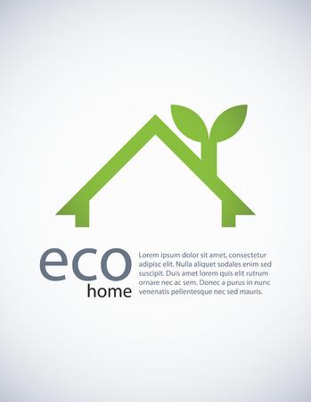 Ecologie achtergrond met een concept van een eco-friandly huis, EPS10 vector.