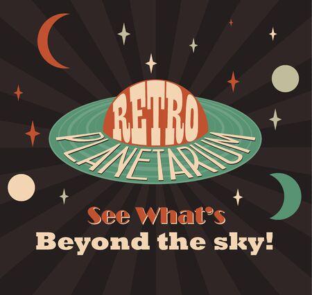 Retro planetarium advertising poster. Old style vector image. Vector