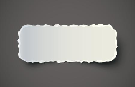 Pedazo de papel rasgado en el fondo oscuro. EPS10 vector.