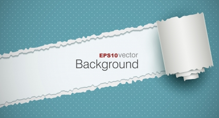Torn paper background with a rolled piece. EPS10 vector. Illustration