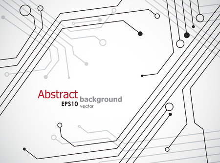 Eenvoudige technologie achtergrond met halfgeleider tracks. EPS10 vector.