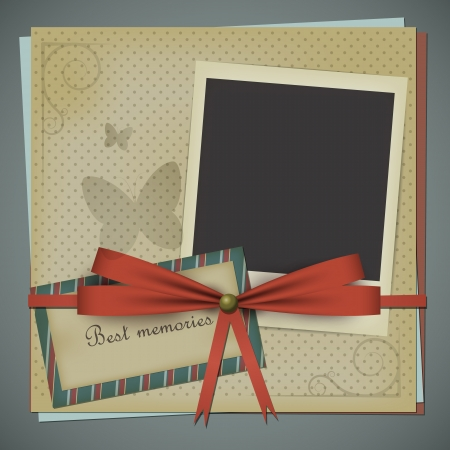 polariod: Retro scrapbooking postcard with a bow and a blank polariod style photo. EPS10 vector