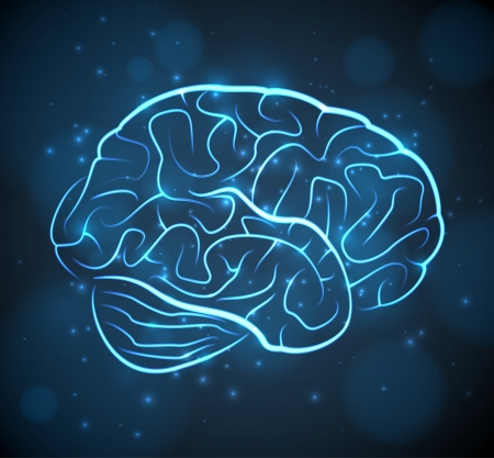 Glowing blue brain contours on black background. EPS10 vector medical background. Vector