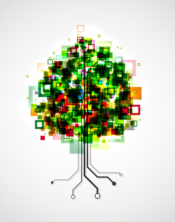formed: Concept image of a technology tree, with pixels in the crown and roots formed by semiconductor tracks.  Illustration