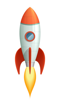 Cool cartoon style launching rocket with flame going out of the booster.   Vector