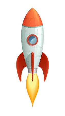 booster: Estilo fresco de la historieta el lanzamiento del cohete con la llama que sale del booster.