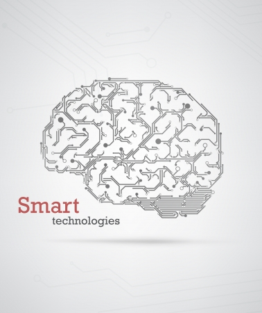 Black and white technology background with a brain formed by semiconductor tracks.   Vector