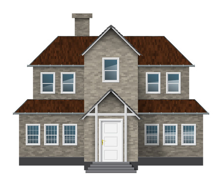 Old style gray brick cottage isolated on white. Stock Vector - 23552824
