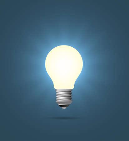 shining light: Realista brillante bombilla. Vectores