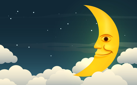 Illustration of a smiling moon in the starry night sky among the clouds.  Vector