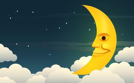 nubes caricatura: Ilustraci�n de una luna sonriente en el cielo nocturno estrellado entre las nubes. Vectores