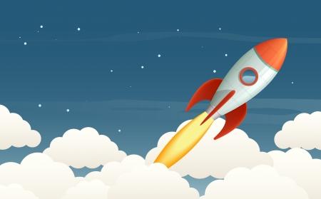 Illustratie van een vliegende raket in de sterrenhemel.