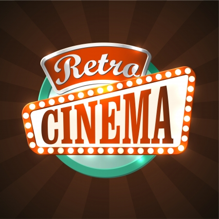 Cool retro cinema sign.  Vector