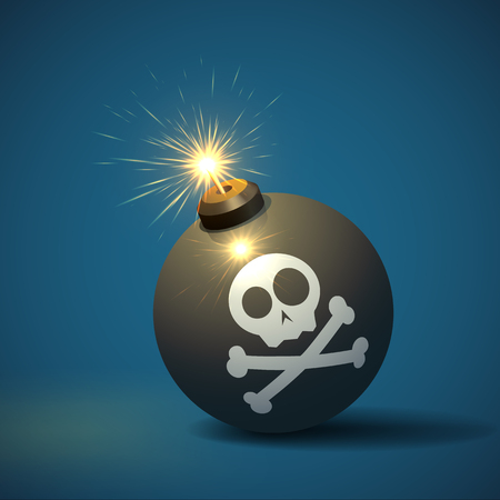 Cool image of a round black bomb with a burning fuse and a jolly roger image. Vector