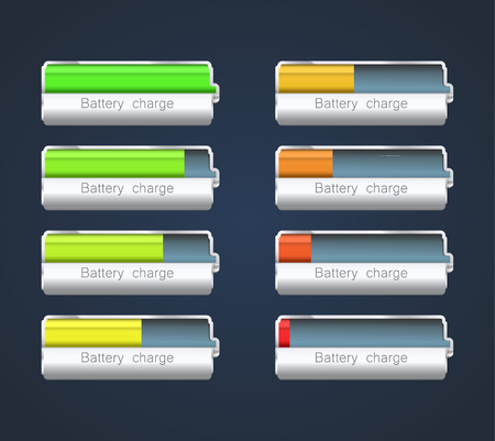 Set of batteries showing different charge level.  Vector