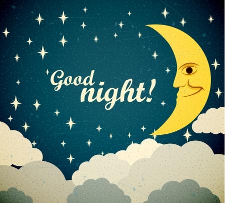 buonanotte: Retro illustrazione di una luna sorridente che desiderano buona notte.