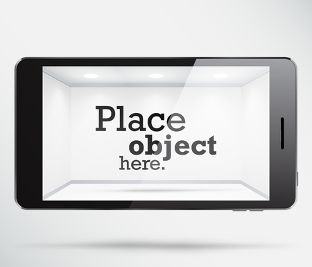 Smartphone with a free white space inside the screen, where any object can be placed. EPS10 vector showcase.
