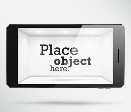 showcase interior: Smartphone con uno spazio bianco libero all'interno dello schermo, dove qualsiasi oggetto pu� essere collocato. EPS10 vettore vetrina.
