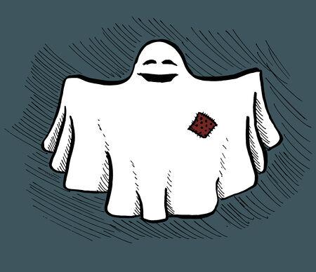 bedsheets: Immagine disegnata a mano semplice di un fantasma sorridente amichevole. Immagine vettoriale. Vettoriali