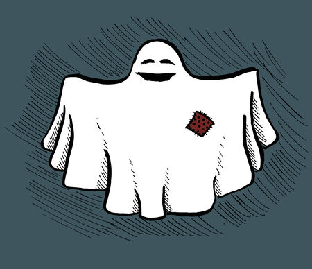 bedsheets: Simple hand drawn image of a friendly smiling ghost. Vector image. Illustration