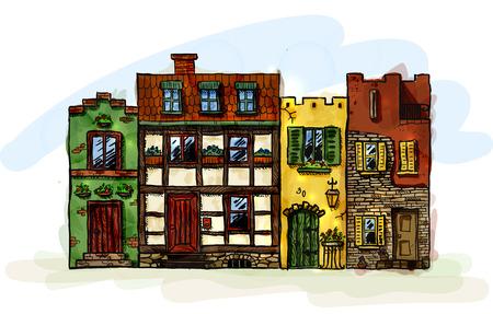 Rij van vier hand getekende oude Europese smalle huizen. EPS10 vector-afbeelding.